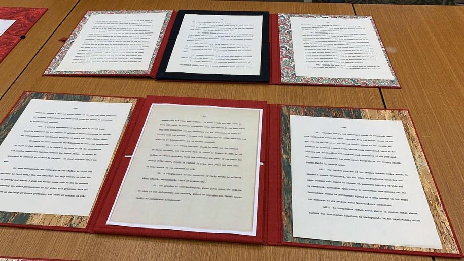 """""""Czternaście punktów Wilsona"""" – program pokojowy, który prezydent USA Thomas Woodrow Wilson przedstawił w orędziu do Kongresu /Paweł Żuchowski /RMF FM"""
