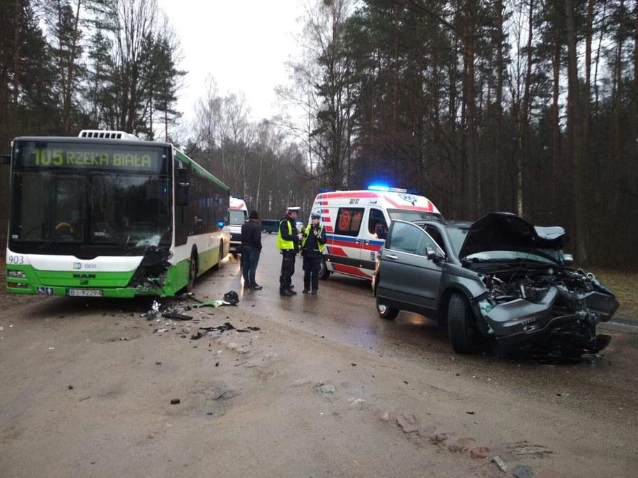 Cztery osoby przewieziono do szpitala /KWP Białystok /Policja