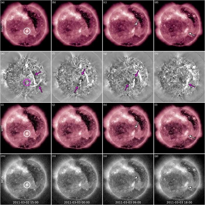 Cztery różne czasy i techniki obrazowania uchwyciły CME z 3 marca 2011 roku. Regiony przyciemniania i rozjaśniania są zaznaczone strzałkami, a region aktywny AR 11165 jest zakreślony strzałką w pierwszej kolumnie. /materiały prasowe
