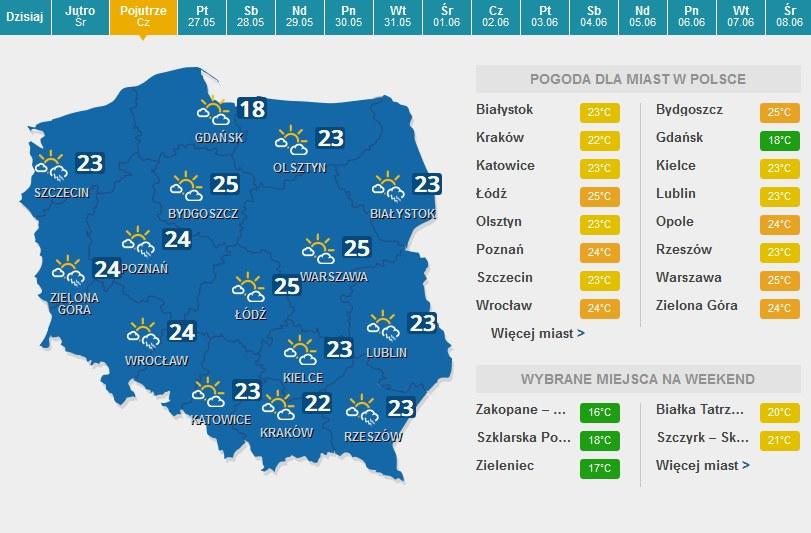 Czwartek (Boże Ciało), prognoza pogody /INTERIA.PL