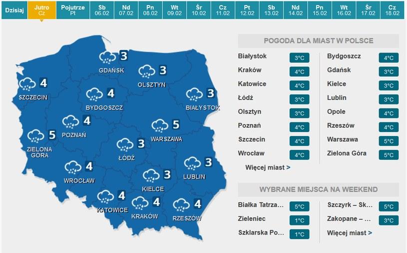 Czwartek - prognoza pogody /INTERIA.PL