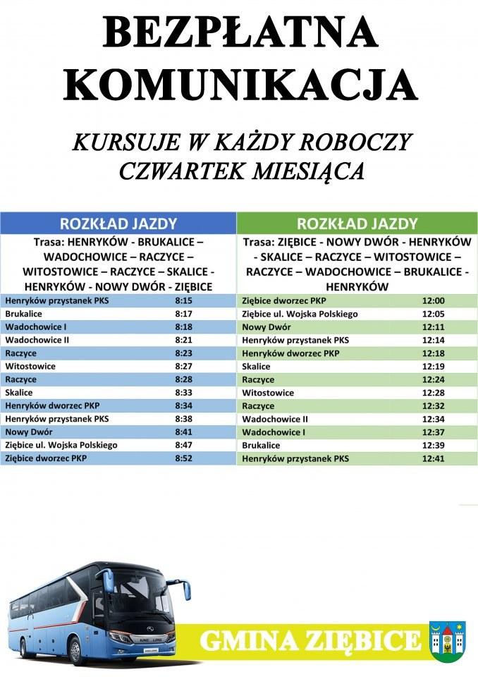 """""""Czwartkowy"""" rozkład jazdy w gminie Ziębice /Gmina Ziębice /Archiwum"""