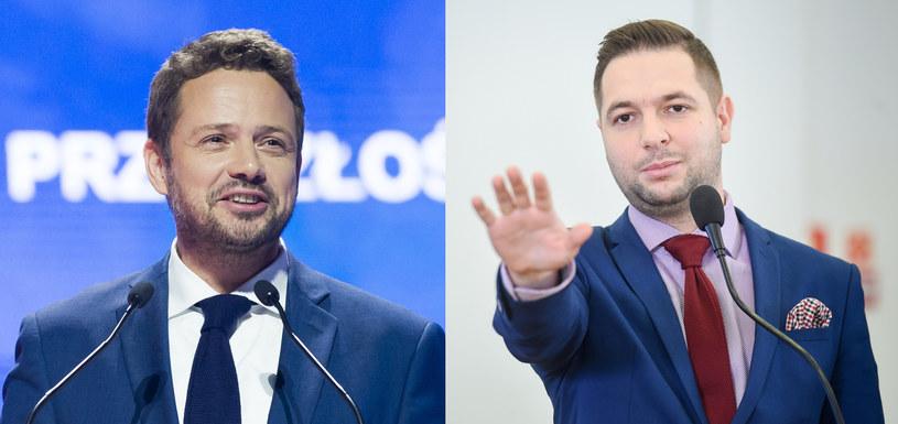 Czy Patryk Jaki (z prawej) zatrzyma Rafała Trzaskowskiego? /Reporter