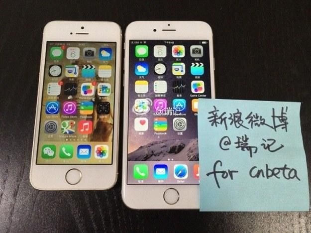 Czy po prawej widzimy iPhone'a 6? Albo podróbkę, która go przypomina? Takie zdjęcie umieścił chiński serwis CNbeta /Internet