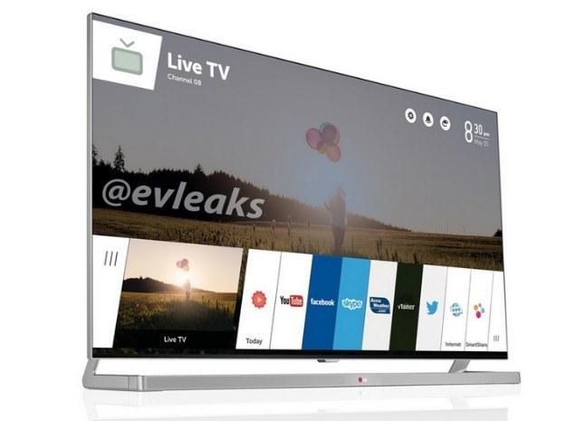 Czy tak będzie wyglądać telewizor LG z systemem WebOS? Zdjęcie pochodzi z @Evleaks /materiały prasowe