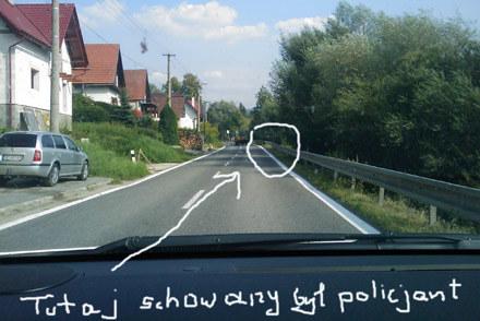 Czytelnik zilustrował miejsce policyjnej zasadzki /INTERIA.PL