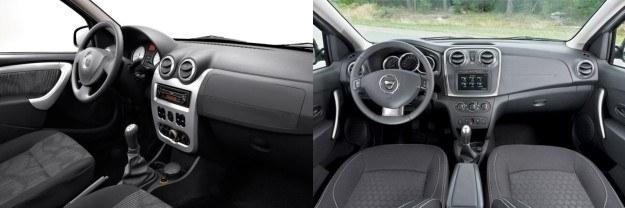 Dacia Logan - kokpit pierwszej (z lewej) i drugiej (z prawej) generacji modelu. /Dacia