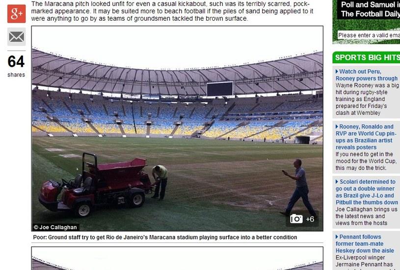 Daily Mail alarmuje, że murawa na Maracanie wygląda fatalnie. /INTERIA.PL