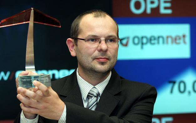 Damian Kocoń, prezes Open-Net, w czasie debiutu na NewConnect /PAP