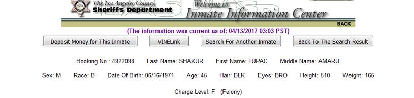 Dane o Tupacu Shakurze w kartotece policji z Los Angeles /