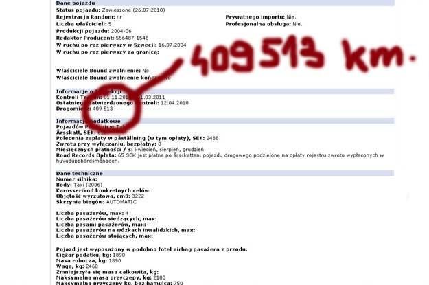 Dane oferowanej w Polsce E-klasy. Przetłumaczony screen ze szwedzkiej strony www21.vv.se /