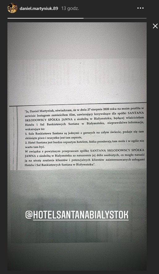 Daniel Martyniuk opublikował przeprosiny na swoim profilu /Instagram