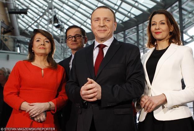 Danuta Holecka (L), Przemysław Babiarz, prezes TVP Jacek Kurski, Anna Popek. Fot. Stefan Maszewski /Reporter