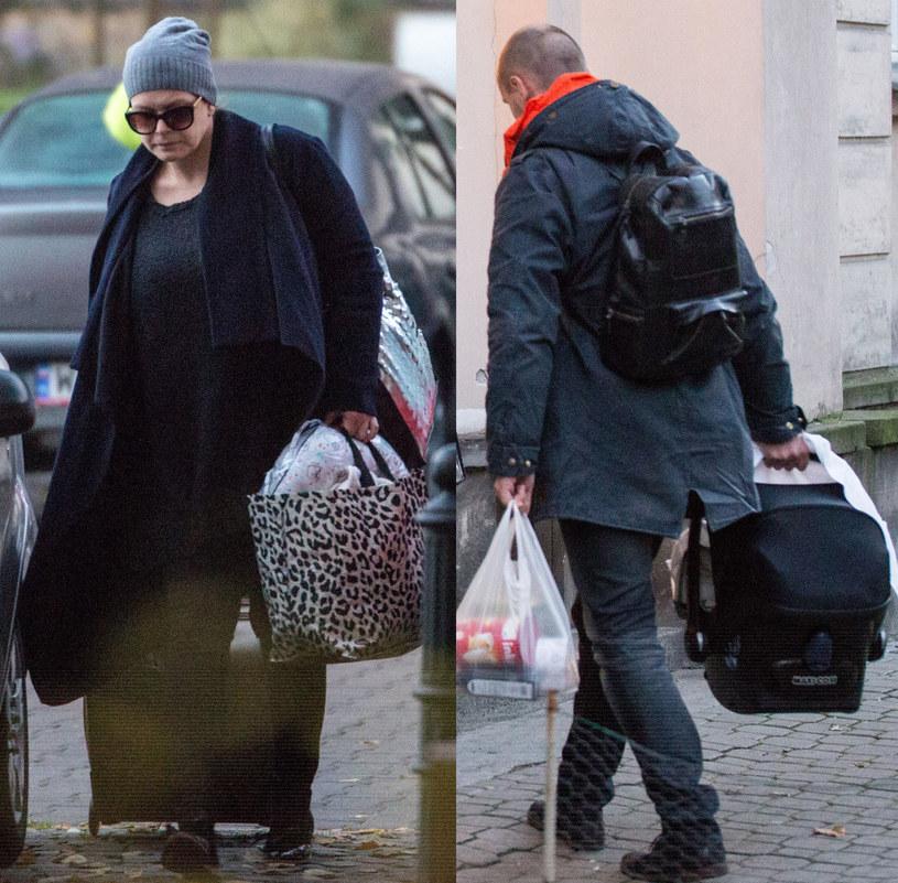 Daria Widawska z synem Brunem i mężem /Foto IP