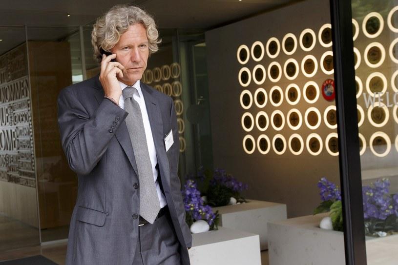 Dariusz Mioduski w siedzibie UEFA w szwajcarskim Nyonie /PAP/EPA