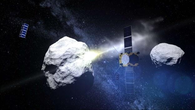 DART uderza w księżyc Didymoon - wizualizacja. Fot. ESA /materiały prasowe