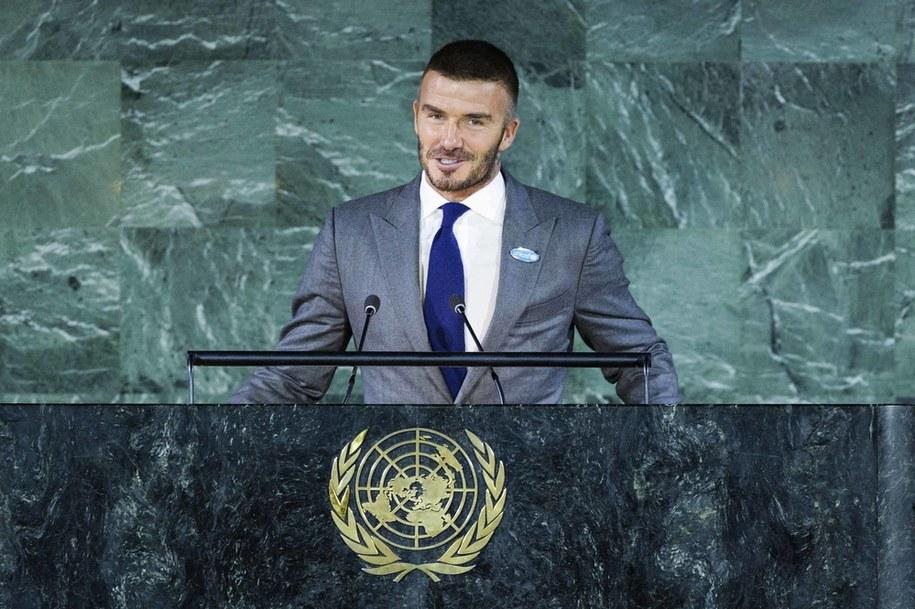 David Beckham podczas wystąpienia w siedzibie ONZ /Utrecht Robin/ABACAPRESS.COM /PAP/EPA