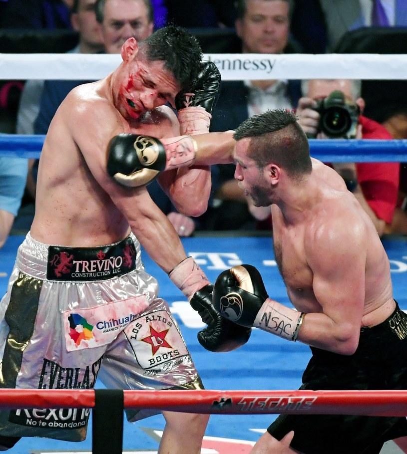 David Lemieux (z prawej) tu w walce z Marcosem Reyesem /AFP