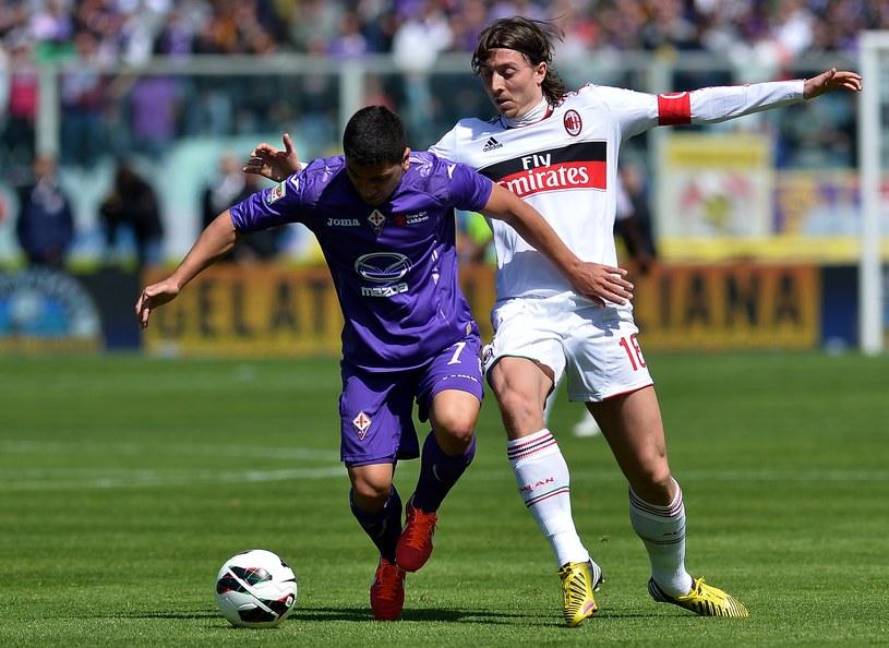 David Pizarro (z lewej, Fiorentina) i Riccardo Montolivo /AFP