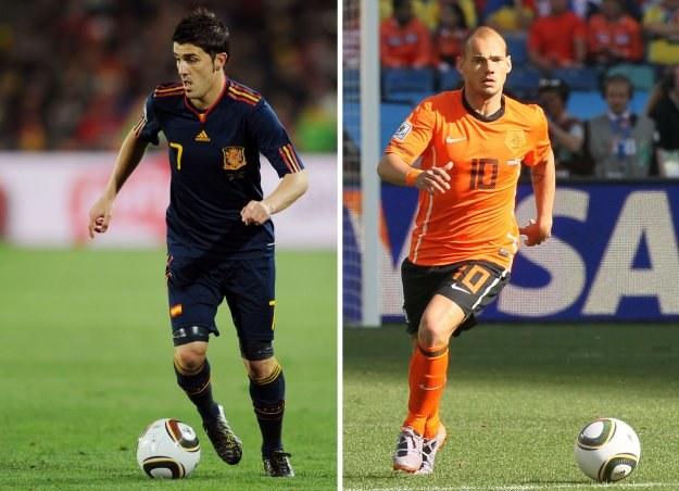 David Villa i Wesley Sneijder - ktoś z nich podniesie Puchar Świata. /AFP