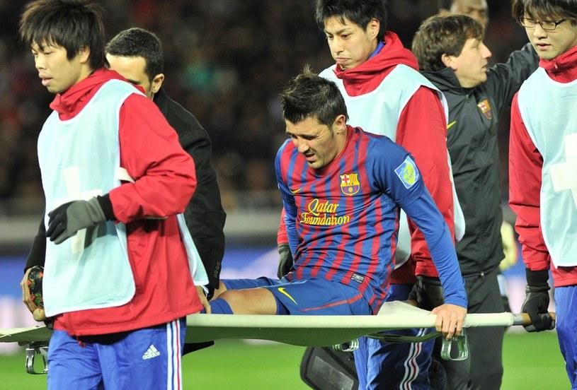 David Villa opuszczał boisko na noszach /AFP