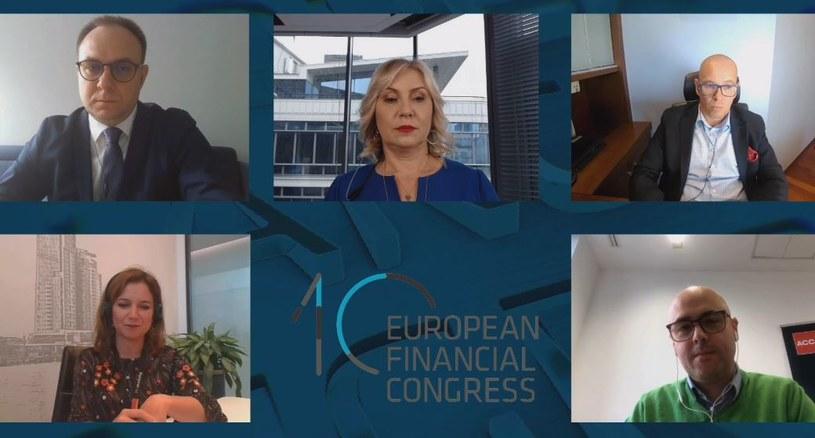 """Debata """"Nie tylko finanse, czyli przywództwo, współpraca, kompetencje i technologie jako kluczowe czynniki wyjścia z kryzysu"""" podczas X Europejskiego Kongresu Finansowego. /INTERIA.PL"""