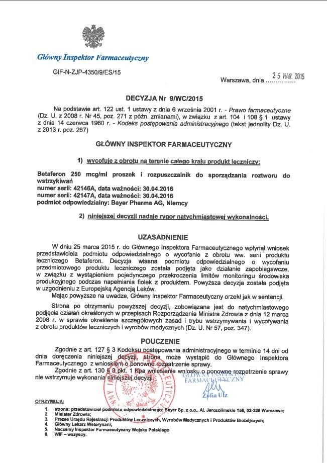 Decyzja GIF o wycofaniu z obiegu leku Betaferon /gif.gov.pl /INTERIA.PL