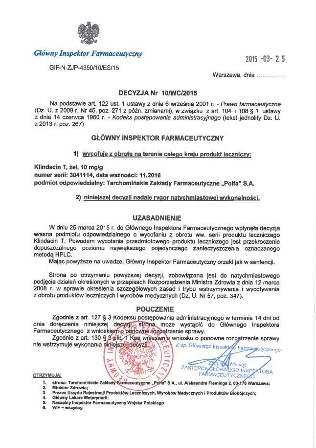 Decyzja GIF o wycofaniu z obiegu leku Klindacin T /gif.gov.pl /INTERIA.PL