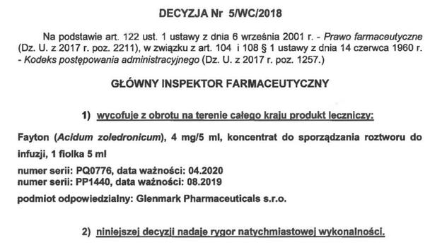 Decyzja GIF. /GIF  /Główny Inspektorat Farmaceutyczny