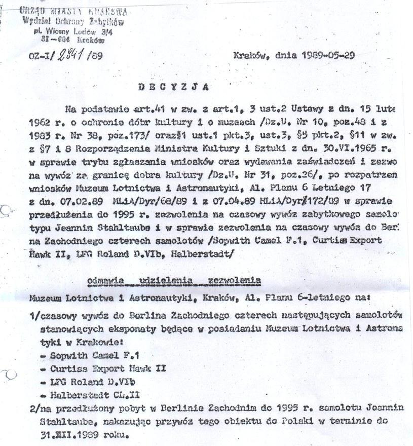 Decyzja Wydziału Ochrony Zabytków w Krakowie, 29.05.1989 r. (źródło: Odkrywca) /