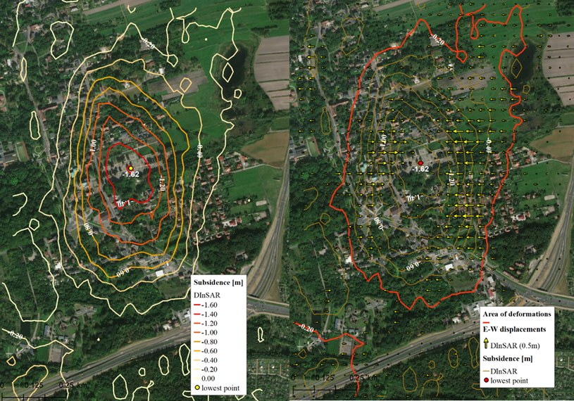 Deformacje pionowe (po lewej) oraz poziome w kierunku wschód-zachód z obrazów satelitarnych dla terenu miasta Bytom. Fot. Instytut Geodezji i Geoinformatyki UPWr /materiały prasowe