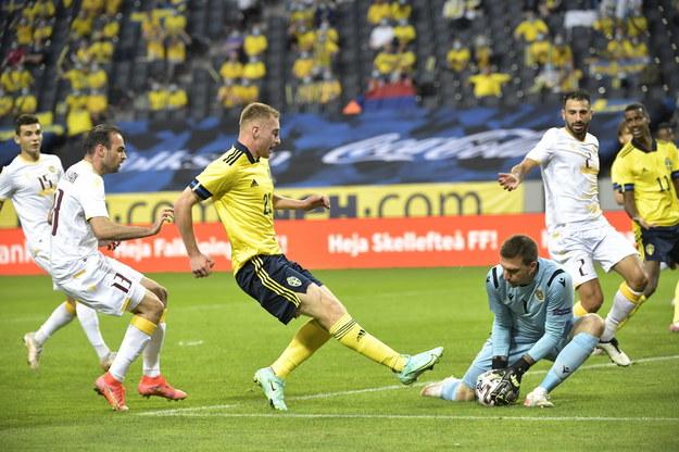Dejan Kulusevski w towarzyskim meczu reprezentacji Szwecji z Armenią, 5 czerwca /Janerik Henriksson /PAP/EPA