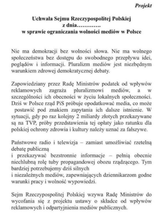 Deklaracja przekazana Interii przez Annę Marię Żukowską /