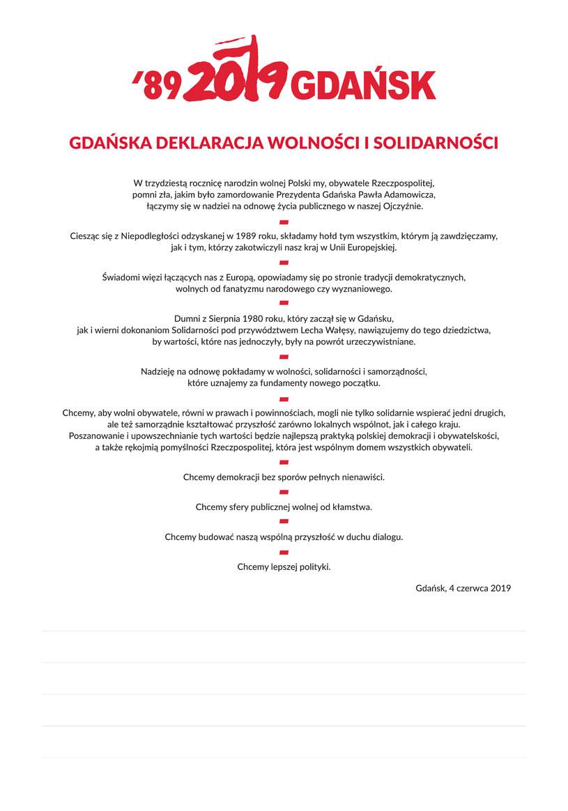 Deklaracja Wolności i Solidarności, źródło: Urząd Miejski w Gdańsku /