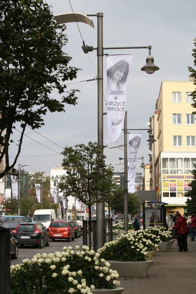 Dekoracje z róż i banery z wizerunkiem Anny Przybylskiej /Andrzej Wrzesiński /East News
