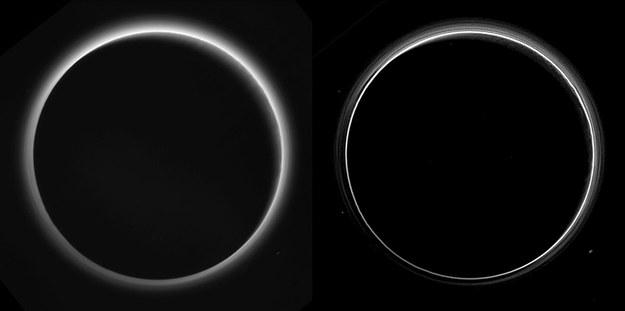Delikatna atmosfera Plutona na zdjęciach wykonanych przez sondę New Horizons pod Słońce /NASA/Johns Hopkins University Applied Physics Laboratory/Southwest Research Institute /materiały prasowe