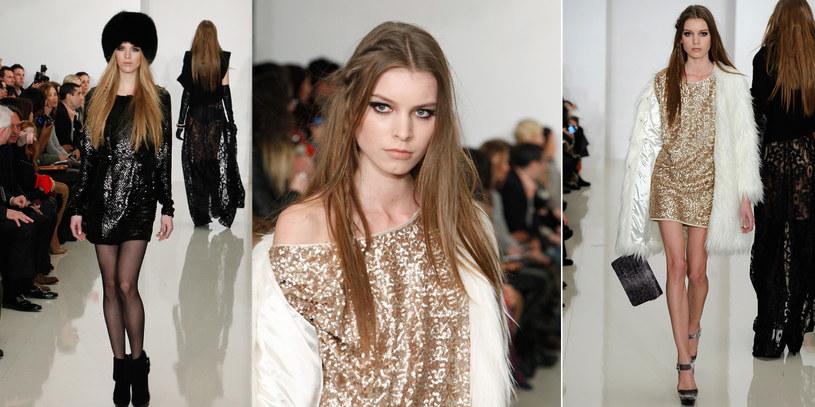 Delikatna sukienka i ciężka futrzana czapa? Tak! Zdjęcia z pokazu Rachel Zoe /Getty Images