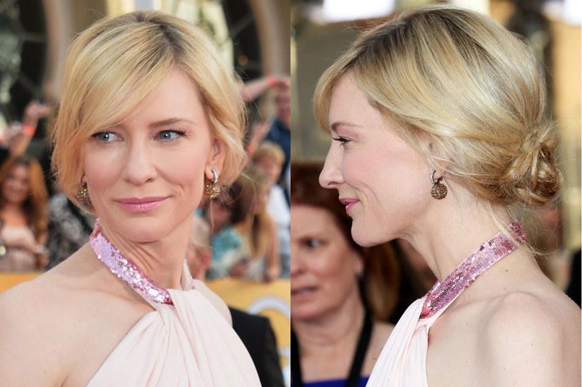 Delikatna uroda Cate Blanchett(44) nie wymaga mocnego makijażu, ani wyszukanych fryzur. Lekkie upięcie, w którym aktorka pokazała się na gali rozdania Nagród Gildii Aktorów Ekranowych, to strzał w dziesiątkę /Getty Images/Flash Press Media