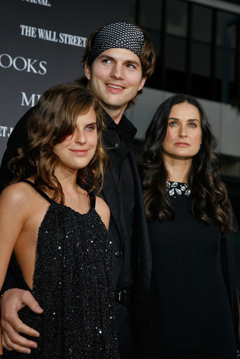 Demi Moore z córką Tallulah i Ashtonem Kutcherem /Kevin Winter /Getty Images