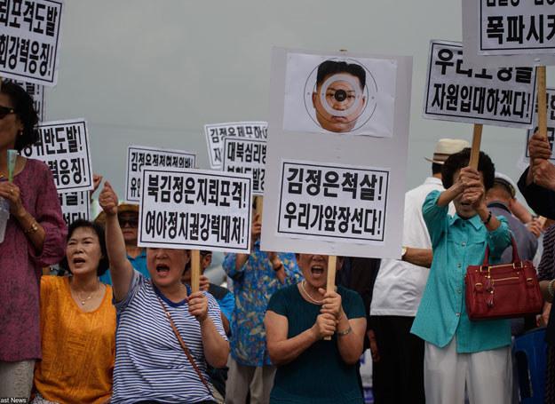 Demonstracje na granicy z Koreą Północną, 24.08.2015 /AFP /East News