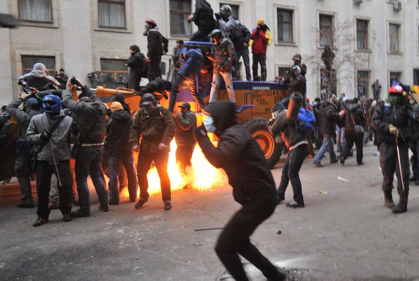 Demonstranci na ulicach Kijowa /AFP
