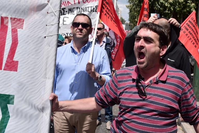 Demonstranci w Grecji /LOUISA GOULIAMAKI / AFP /AFP