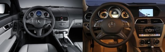 Deska rozdzielcza obecnej klasy C - z lewej strony przed, a z prawej po liftingu. /Mercedes
