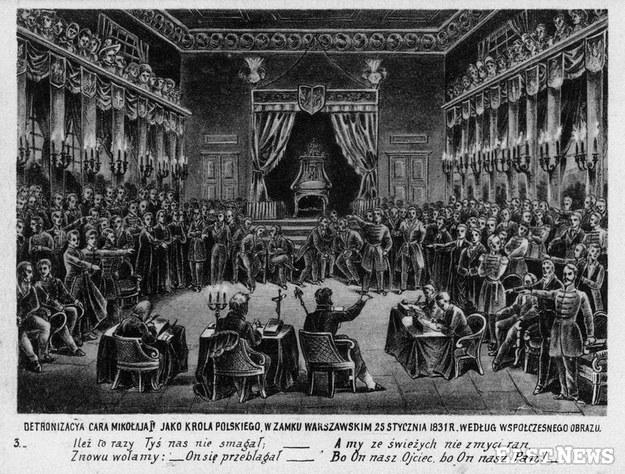 Detronizacja cara Mikolaja I jako króla polskiego w Zamku Warszawskim 25 stycznia 1831 r. Pocztówka wydana ok. 1905 /Muzeum Niepodległości /East News