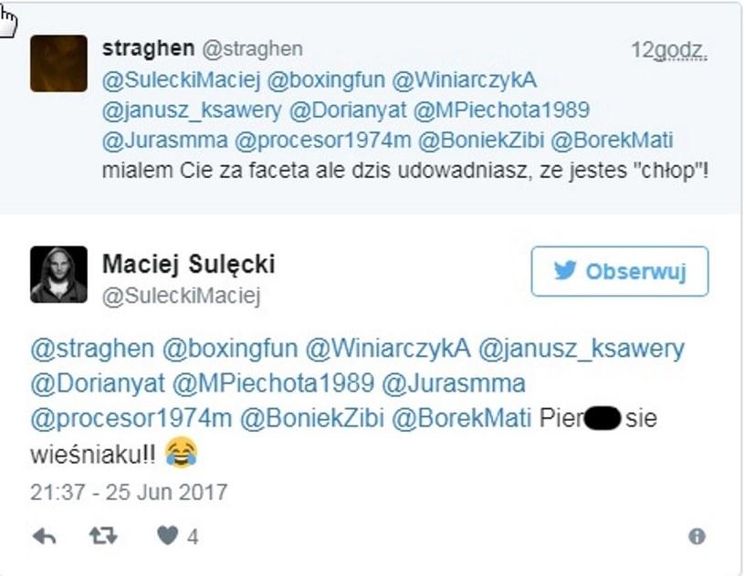 """""""Dialog"""" Macieja Sulęckiego z kibicem /fot. Twitter /"""