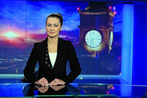 """Diana Rudnik w studiu """"Wiadomości"""" TVP1 /fot. Bauer/materiały prasowe /"""
