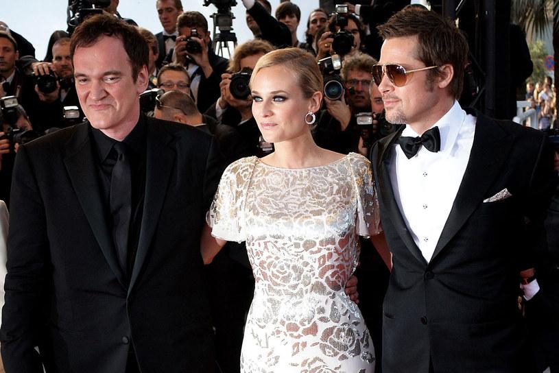 Diane Kruger, Quentin Tarantin i Brad Pitt przed premierą w Cannes  /Getty Images/Flash Press Media