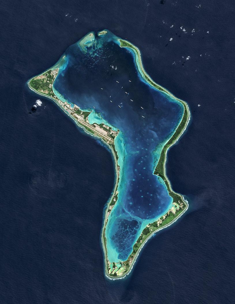 Diego Garcia, największa wyspa archipelagu Czagos /USGS/NASA Landsat data/Orbital Horizon Gallo Images /Getty Images