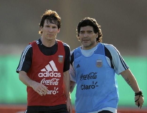 Diego Maradona i największa gwiazda Argentyny Leo Messi /AFP