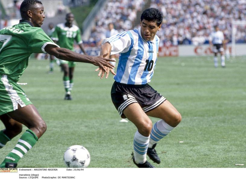 Diego Maradona na mundialu w 1994 roku /Newspix